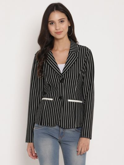 Black and White striped jacket with lapel collar