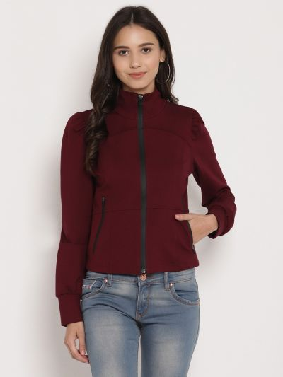 Wine solid knitted  jacket  with zipper