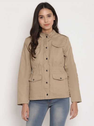 Fawn solid quilted jacket