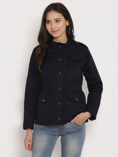 Navy solid quilted jacket