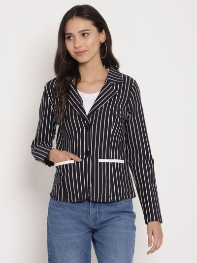 Navy and White striped jacket with lapel collar