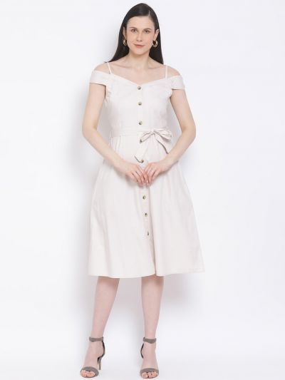 Beige solid A-line Dress with belt