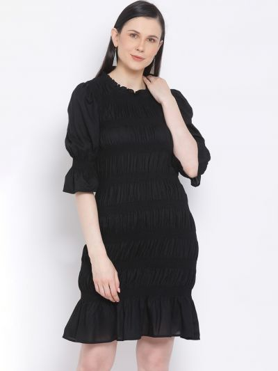 Black smocked body fitted dress