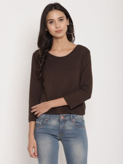 Brown fitted basic top