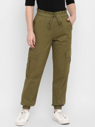 Olive Stylised Jogger With Pockets