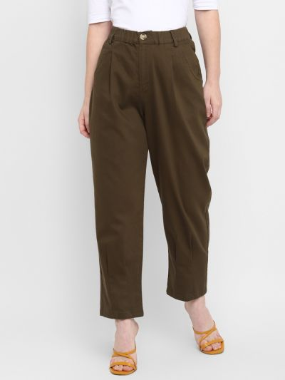 Brown Stylised Relaxed Fit Trousers