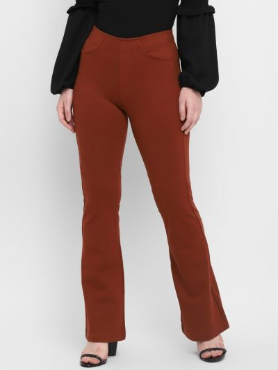 Rust Brown Solid Relaxed Fit  Bootcut Trousers