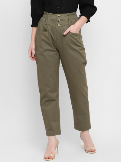 Olive solid stylised slim fit trouser