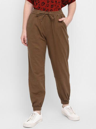 Olive Brown Jogger Style Trousers