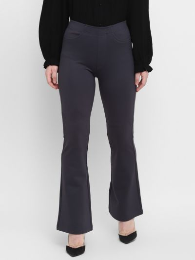 Navy Solid Relaxed Fit  Bootcut Trousers