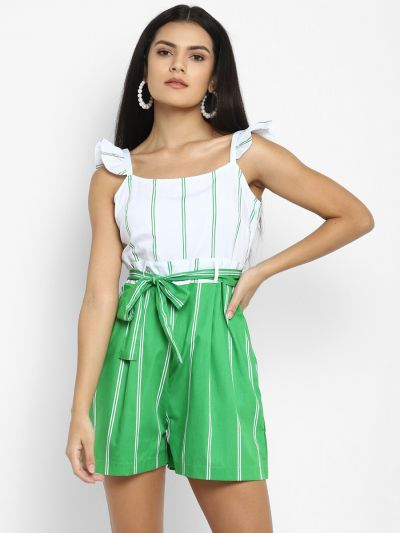 Green and White Printed  Stylised  Playsuit