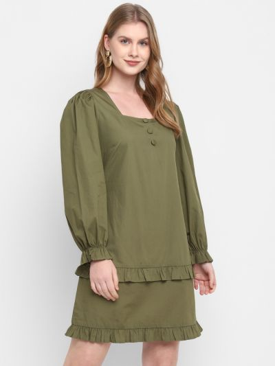 Olive Stylised Tiered Dress