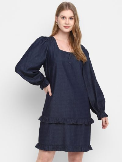 Navy Stylised Tiered Dress