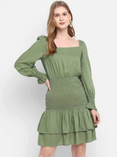 Green Stylised Fit and Flare Dress