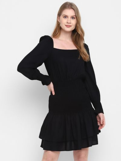 Black Stylised Fit and Flare Dress
