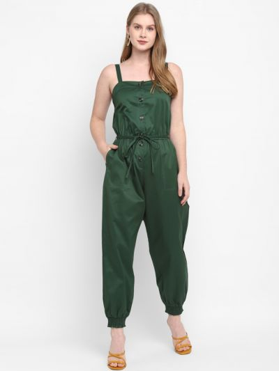 Green Stylised Jogger With Waist Chord
