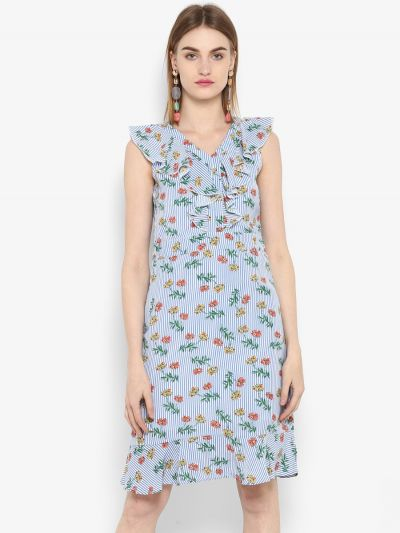 Off-White Printed Fit and Flare Dress