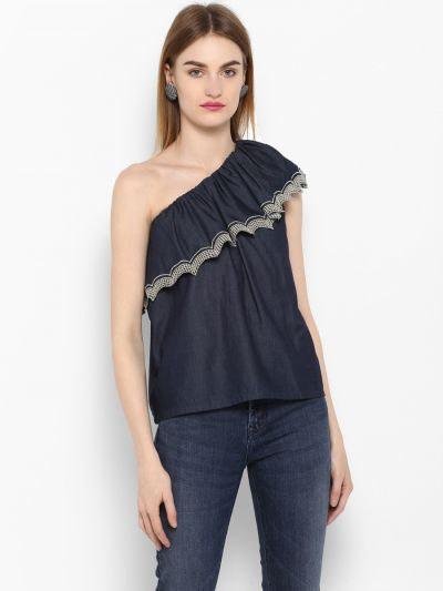 Navy Blue Solid A-Line Top
