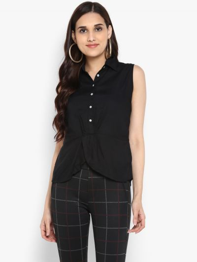 Black Solid Shirt Style Top