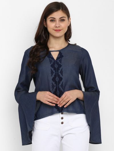 Blue Stylish Embroidered Top
