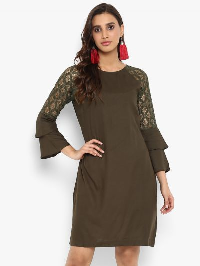 Olive Green Solid A-Line Dress