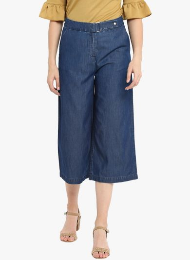Blue Loose Fit Solid Stylish Culottes
