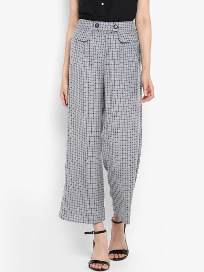 Grey Loose Fit Checked Parallel Trousers