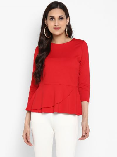 Red Solid Peplum Top, stylish casual red peplum top, Buy red peplum top for girls, Stylish Casual Tops for Ladies Online, Buy Party Wear Tops, buy designer Tops for Women, women's long sleeve tops, ladies long sleeve tops, female tops