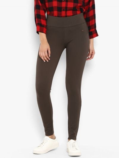 Brown solid high-rise skinny-fit jeggings with side zipper closure