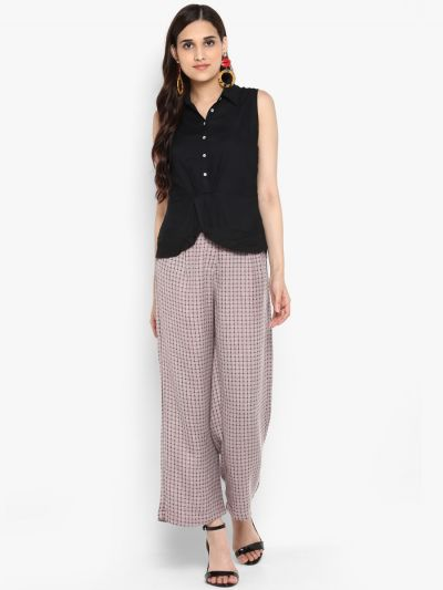Maroon check relaxed fit culotte