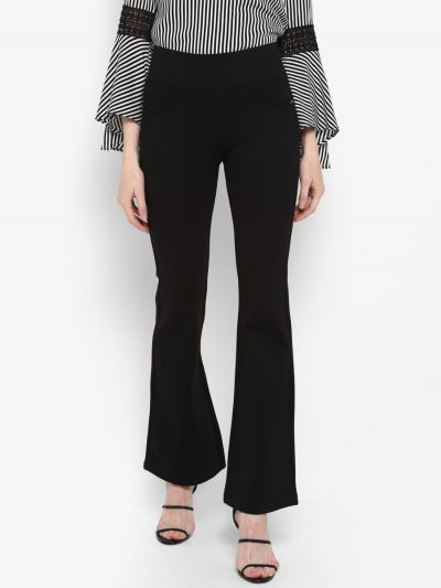 Black solid high-rise skinny-fit jeggings with slip on