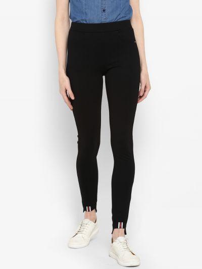 Black skinny-fit jeggings with waistband