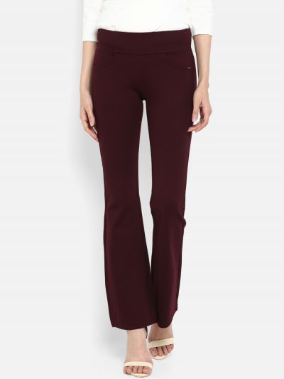 Burgundy Skinny Fit Solid Bootcut Trousers