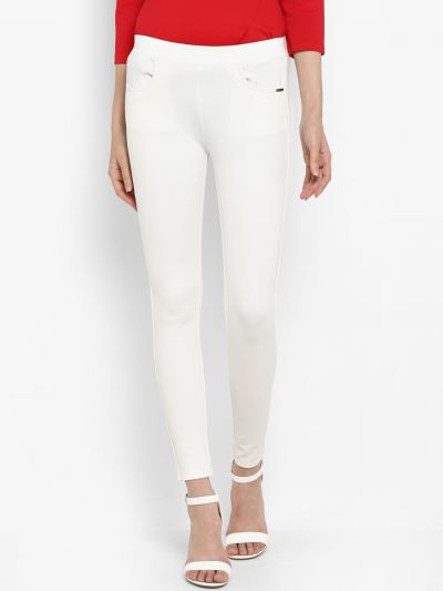 White solid skinny fit jegging