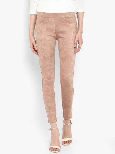 BeigeTectured Skinny-Fit  Jeggings