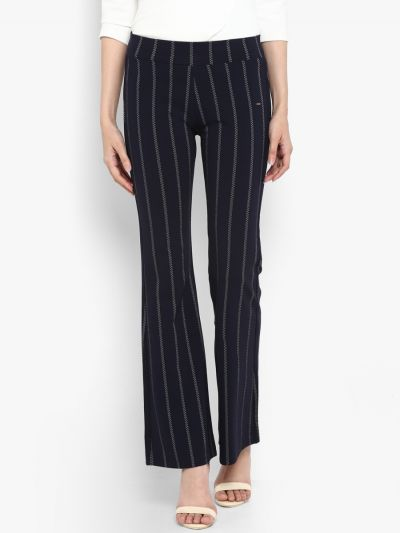 Navy Blue Regular Fit Striped Bootcut Trousers