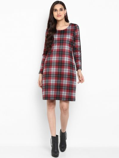 Red Checked Sheath Dress