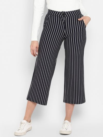 Navy Blue Smart Regular Fit Checked Culottes
