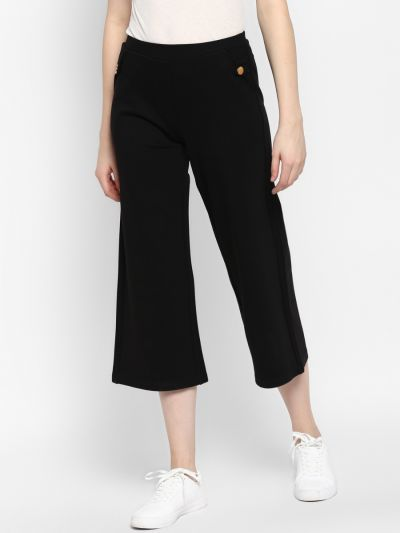 Black Loose Fit Solid mid-rise Culottes