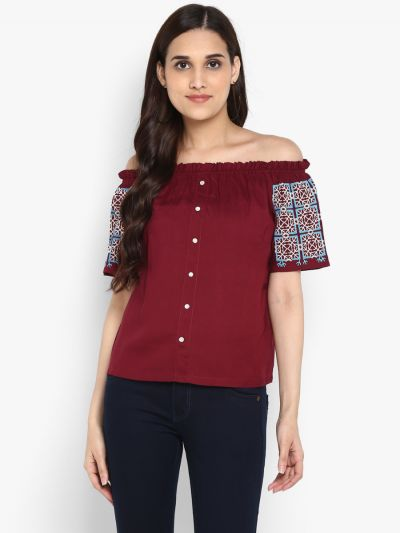 fashionable tops for ladies, top for girl party wear, designer tops online, Fosh.shopping tops, Printed Bardot Top for Ladies, Buy Maroon Printed Bardot Top Online.