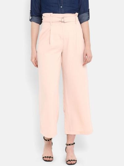 Peach-Coloured Smart Regular Fit Solid Culottes