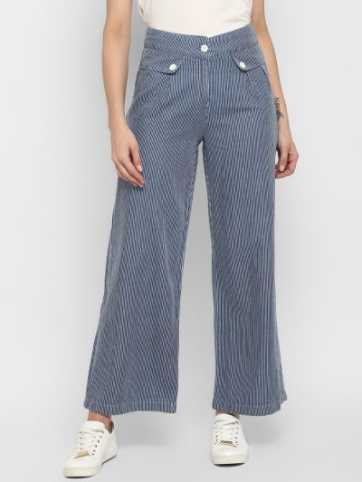 Blue Comfort Regular Fit Striped Parallel Trousers
