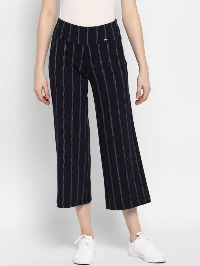 Navy Blue Loose Fit Striped Culottes