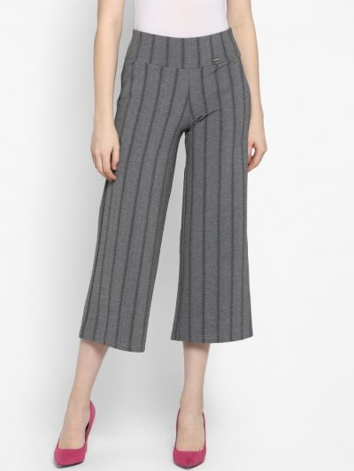 Grey Loose Fit Striped Culottes