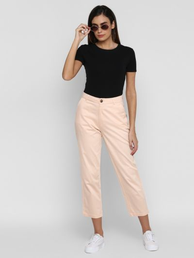 Peach solid regular fit trousers