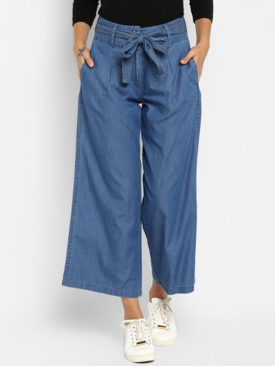 Blue Loose Fit tie knot Solid Culottes