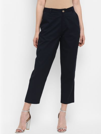 Navy solid relaxed fit trousers