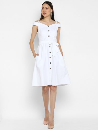 White solid A-line Dress