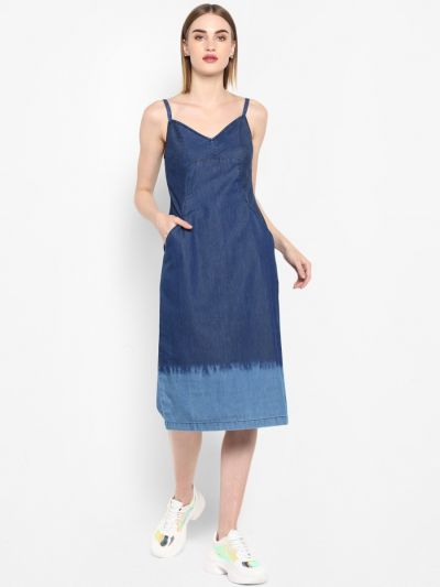 Blue solid knitted A-line dress