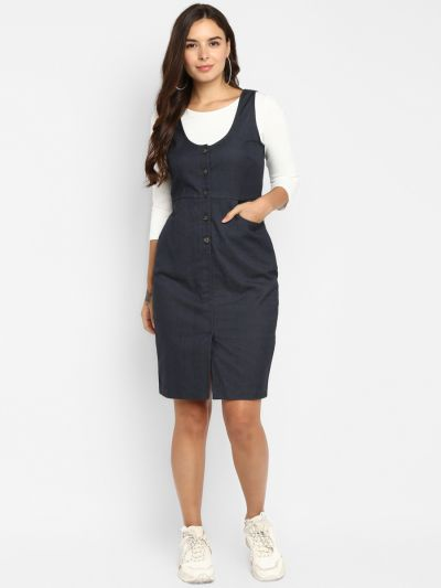 Charcoal Grey Solid Pinafore Dress with a White Solid T-shirt